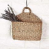1PCS Aufbewahrungskorb aus Seegras Geflochten Korb mit Griff Einkaufskorb Wandkorb halbrund aus...