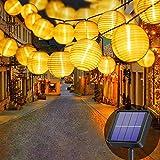 Lezonic Solar Lichterkette Lampion Außen, 8 Meter 30 LED Laternen 8 Modi Wasserdicht Solar...
