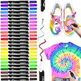 Textilstifte, RATEL 24 Farben Wasserfeste Textilmarker Stoffmalstifte mit Doppelkopffeder, Permanent...