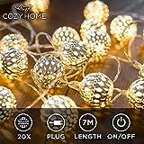 CozyHome marokkanische LED Lichterkette – 7 Meter   Mit Netzstecker NICHT batterie-betrieben   20...