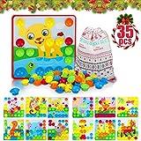 Flyfun Mosaik Steckspiel, Mosaik Spielzeug fr Kinder ab 3 Jahre, Steckmosaik mit 35 Steckperlen und...