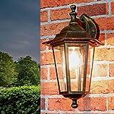 Rustikale Außenwandlampe Außenwandleuchte Gold Antik Glas Aluminium E27 Beleuchtung Balkon Hof...