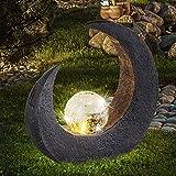 LED Mondsichel Solar Lampe Garten Steh Boden Beleuchtung Glas Kugel Leuchte Veranda Weg Terrasse...