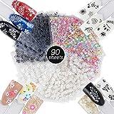 JNCH 90 Blatt Nagelsticker Aufklber Fingerngel 3D Design Selbstklebend Tattoo Sticker Nail Art Tipp...
