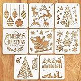 Schablonen Weihnachten, 8 Stück Zeichenschablonen Malschablonen aus Kunststoff, Stencil Schablonen...