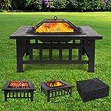 femor Feuerstelle mit Grillrost 81x81x45cm, Multifunktional Fire Pit für Heizung/BBQ, Garten...