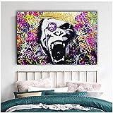 Leinwanddrucke Bunte Gorilla Leinwandmalerei Tierbilder für Wohnzimmerbilder Street Art 50x70cm No...