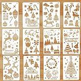 Schablonen Weihnachten, 12 Stück Zeichenschablonen Malschablonen aus Kunststoff, Stencil Schablonen...