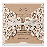 wishmade 20 x weiß Laser geschnitten Flora Spitze Einladungen Karten mit Schleife Ärmel Karten...