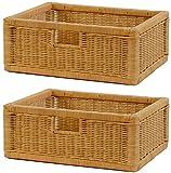 Stabiles Set 2 Regalkorb mit Holzrahmen aus echtem Rattan/Schübe mit Griff 43x32x17cm Schubfach...