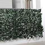 Balkon-Sichtschutzhecke, Sichtschutz Balkon Efeu Blätter, künstliche Hecke, Kunststoff, 300 x 100...