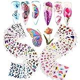 VINFUTUR 54 Blatt Nagelsticker Blumen Schmetterling Wassertransfer, Nagelaufkleber Selbstklebend...