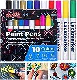 colozoo Lackstift 10 Farben Set | Lackmarker 10er Set | Wasserfester Stift Auf Ölbasis Für Jede...