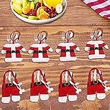 LATTCURE Weihnachten Bestecktasche 8PCS Weihnachtsdeko Taschen Tischdekoration Besteckbeutel...