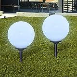 Nyyi Außenlampe Solarlampe LED Gartenkugel 2 Stk. 30cm mit Erdspieß