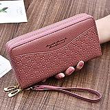 AHAQ Damen Lange Brieftasche Dame hält Brieftasche Doppelschicht Clutch PU-Material, Deep pink
