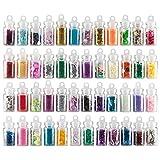 48 x Nailart Flschchen mit Microperlen Pailetten Fimo Rauten Sterne uvm. in schnen Farben