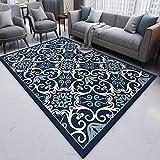 Outdoor-QJ Teppich Groessen Wohnzimmer Blau weiß klein blumig rutschfest Schlafzimmer Zimmer...