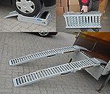 2x Auffahrrampe Stahl 500 Kg (Traglast Paar) klappbare faltbare Rampe Auffahrschiene Motorradrampe |...