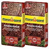 Floragard Mulch Pinienrinde 25-40 mm 2x60 L • grob • dekorativer Bodenbelag • unterdrückt...