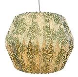 Hänge-Lampen-Schirm Retro farn, Höhe x Durchmesser: 31 x 40 cm, ohne Leuchtmittel, Papier/Metall,...