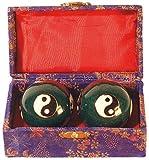 Edle Qi Gong Kugel emailliert Meditation Kugel Yin Yang blau 35mm