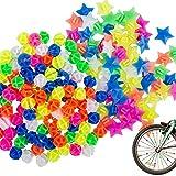 YuCool 180 Stück Fahrrad Speichen Dekorationen, Fahrrad Kunststoff Clip Runde Perlen und Sternrad...