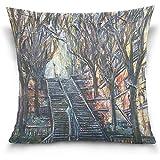 K.e.n Home Decor Kissenbezug mit Reißverschluss Les Escaliers De Montmartre Gemälde Kissenbezüge...