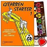 Gitarren Starter 1 - Gitarrenschule für Anfänger von Cees Hartog mit CD, Plektrum Set,...