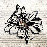 JNZART Natur Schmetterling Blume Schwarz Vinyl Schallplatte Wanduhr Moderne Wanduhr Blumen Quarzuhr...