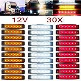 YUK Seitenmarkierungsleuchten, 30 Stück, 12/24 V, 6 LED, rot + weiß + gelb, LKW-Anhänger