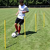 Superspieler24 5 x Slalomstange 100 cm mit Metallspitze, ø 32 mm (gelb), Fußballtraining
