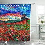 GABRI Duschvorhang Original Ölgemälde von Schlafmohn Feld vor schönen Sonnenuntergang auf...