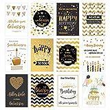 Edition Seidel Set 12 exklusive Premium Geburtstagskarten mit feiner Goldprägung und Umschlag....