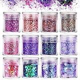 Camelize 12 Stück Nagel Glitzer Face Glitter Chunky Glitter Glitzer Sequin Glitzerpuder Nagel...