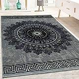 Paco Home Designer Teppich Wohnzimmer Mandala Muster Kurzflor Barock Stil In Grau Schwarz,...