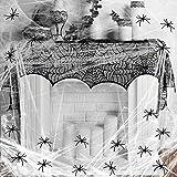 KAKOO 32tlg Grusel Deko Set Schwarz Spitze Spinnennetz Kamin Tür Dekostoff mit 60g Spinnweben und...
