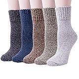 Chalier 5 Paar Damen Winter Wollesocken, Super Weiche Dicke Warme Socken für Business und Freizeit-...