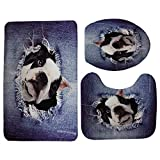 Generic Miracille Jeans Design Home Decor Cute 3D Animal Cat Dog Printed 3PCS Set Bathroom Non-Slip...