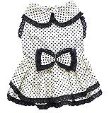 Doggy Dolly D121 Hundekleid, schwarz/weiß Gepunktet, Größe : XXS