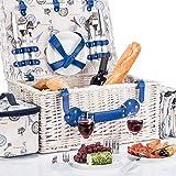GOODS+GADGETS Picknickkorb für 4 Personen Weidenkorb für Picknick mit Picknickdecke und...