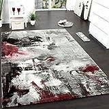 Paco Home Teppich Modern Designer Teppich Leinwand Optik Meliert Schattiert Grau Rot Creme,...