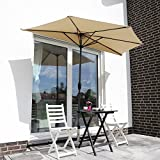 Sekey 2.7m halb-runder Sonnenschirm/Marktschirm/Terrassen-Schirm mit Kurbel fr Garten, Terrassen,...