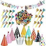 1 Pcs Girlande Happy Birthday Banner Dekoration 100 Pcs Luftrüssel Lufttröte Pfeife 11 Stück...