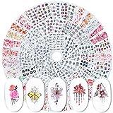 MWOOT Nailart Sticker, 72 Stück Nageldeko Nagelsticker, DIY Nagelkunst Nageltattooss, Blumen...