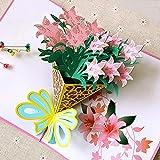 3D Pop up Muttertagskarte Grußkarte Hochzeitkarte Congratulations ein Bouquet von Rosa Lilien für...