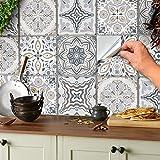 24 stück Mosaik Bodenaufkleber Wandfliese Aufkleber für 15x15cm Fliesen Fliesenaufkleber für Bad...