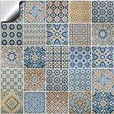 Tile Style Decals 24 stück Fliesenaufkleber für Küche und Bad TP60-6 | Verschiedene Mosaik...