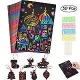 Scratch Paper Art Set mit 50 großen Regenbogenpapieren + 7 Weihnachtsschablonen + 8 Holzstiften und...