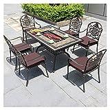 DYYD Gartenmöbel-Sets Außerhalb Tisch Und Stühle Bistrotisch Sets, Außenpatio Set 7 Stück Tisch...